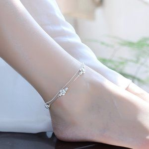 NEW 925 Sterling Silver Flower Bead Anklet